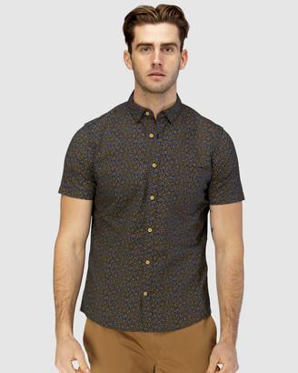 Brooksfield Leaf Print Short Sleeve Casual Shirt
