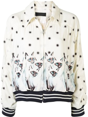 Undercover Cat-Print Zip-Up Jacket