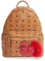 MCM New Year Series Small Coated Canvas Backpack With Genuine Fox Fur Trim - Brown