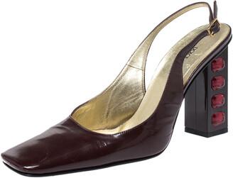 Dolce & Gabbana Maroon Patent Leather Square Toe Embellished Heels Slingback Pumps Size 38