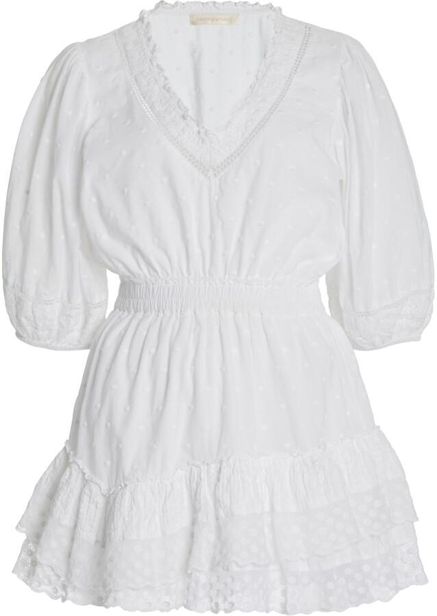 LoveShackFancy Women's Adley Cotton Mini Dress - White - Moda Operandi