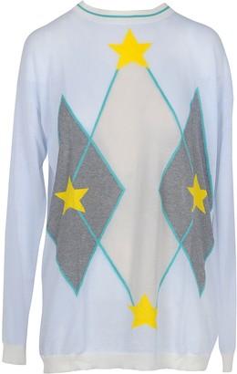 Ballantyne Light Blue Cotton Women's Long Sweater w/Stars