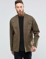 Asos Military Kimono In Khaki With Pockets And Half Sleeve In Regular Fit
