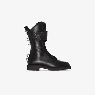 Fendi Black 30 Leather Biker Boots