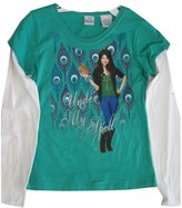 Disney Big Girls Turquoise White Selena Gomez Printed Long Sleeve T-Shirt