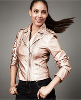INC International Concepts Jacket, Faux-Leather Double-Zipper Moto