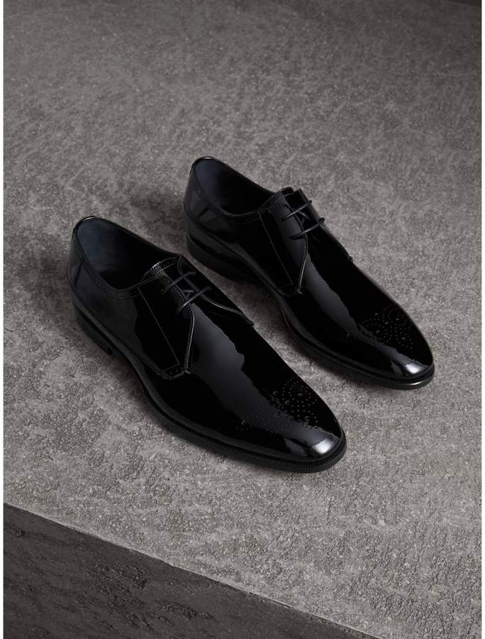 Burberry Broguing Detail Polished Leather Derby Shoes