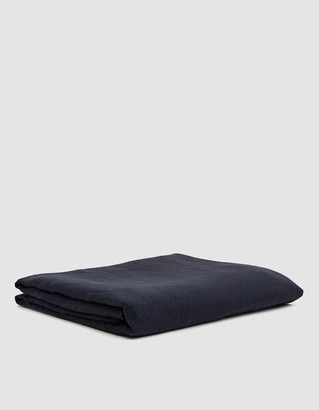 Hawkins New York King Size Simple Linen Flat Sheet in Navy