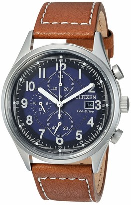 Citizen Men's Eco-Drive Stainless Steel Quartz Leather Calfskin Strap Brown Casual Watch (Model: CA0621-05L)