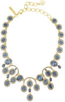 Oscar de la Renta Pavé Oval Crystal Necklace, Blue/Golden