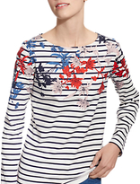 Joules Harbour Long Sleeve Printed Jersey Top, Cream Fay Floral Border