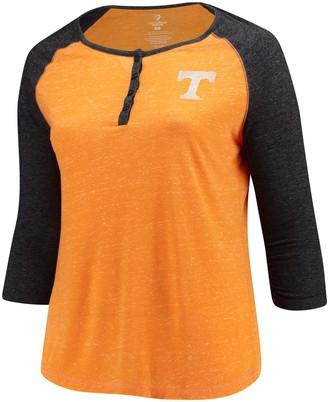 Colosseum Women's Tennessee Orange Tennessee Volunteers Plus Size Team Logo 3/4-Sleeve Raglan Henley T-Shirt