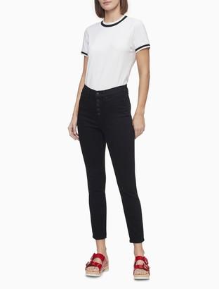 Calvin Klein Striped Mock Neck Short Sleeve T-Shirt