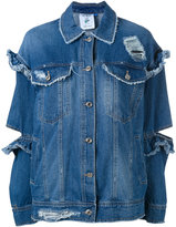 SteveJ & YoniP Steve J & Yoni P - ruffle cut denim jacket - women - Cotton - XS