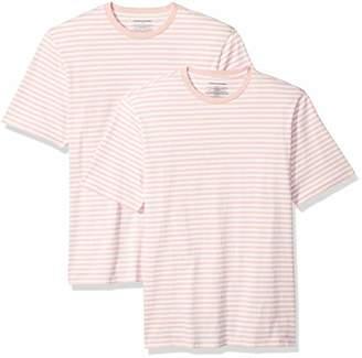 Amazon Essentials Loose-Fit Short-Sleeve Stripe Crewneck T-Shirts (Pack of 2) L