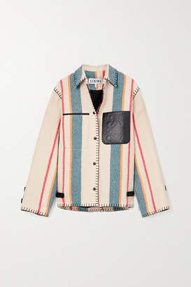 Loewe Leather-trimmed Striped Wool Jacket - Cream