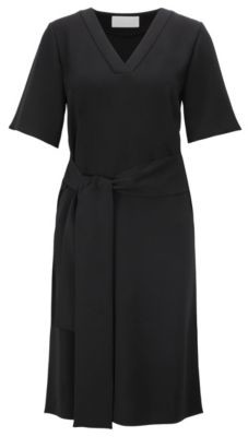 HUGO BOSS Relaxed Fit Dress In Japanese Crepe With Tie Belt - Black