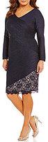 London Times Plus V-Neck Pintuck Lace Sheath Dress