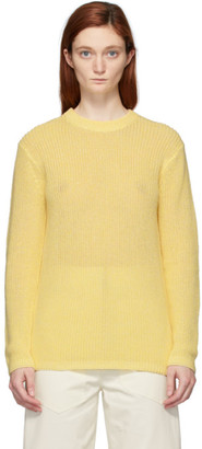 Tibi Yellow Crispy Cotton Crewneck Sweater