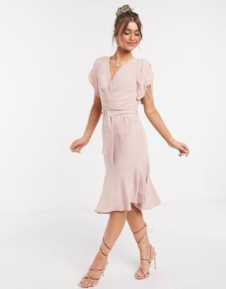 Forever New puff sleeve asymmetric hem dress in blush
