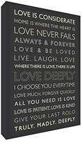 Feel Good Art Gallery Wrapped Box Canvas with Solid Front Panel (30 x 20 x 4 cm, Small, Charcoal Grey and Cream Text, Love Deeply)