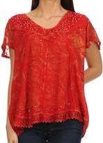 Sakkas 15774 - Hope Embroidery And Seqiun Accents Summer Blouse - OS