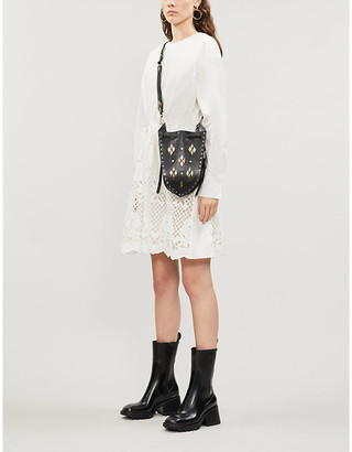 See by Chloe Broderie anglaise-panelled cotton-poplin mini dress