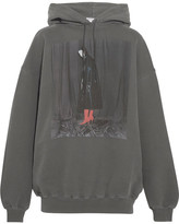 Balenciaga Printed Cotton-jersey Hooded Sweatshirt - Dark gray