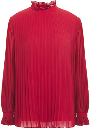 Paul Smith Ruffle-trimmed Pleated Georgette Blouse