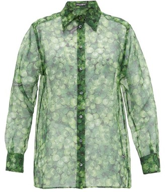 Dolce & Gabbana Clover-print Silk-organza Blouse - Womens - Green Print
