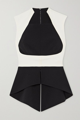 Safiyaa Eralia Two-tone Stretch-crepe Peplum Top - Black
