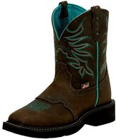 "Justin Boots Justin Western Boot Women Gypsy 8"" Shaft Leather Chocolate L9624"