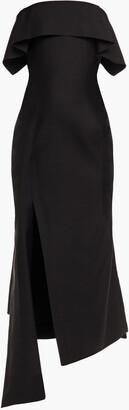 Lanvin Asymmetric Wool And Silk-blend Midi Dress