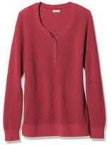L.L. Bean Women's Cotton/Cashmere Sweater, Waffle Henley