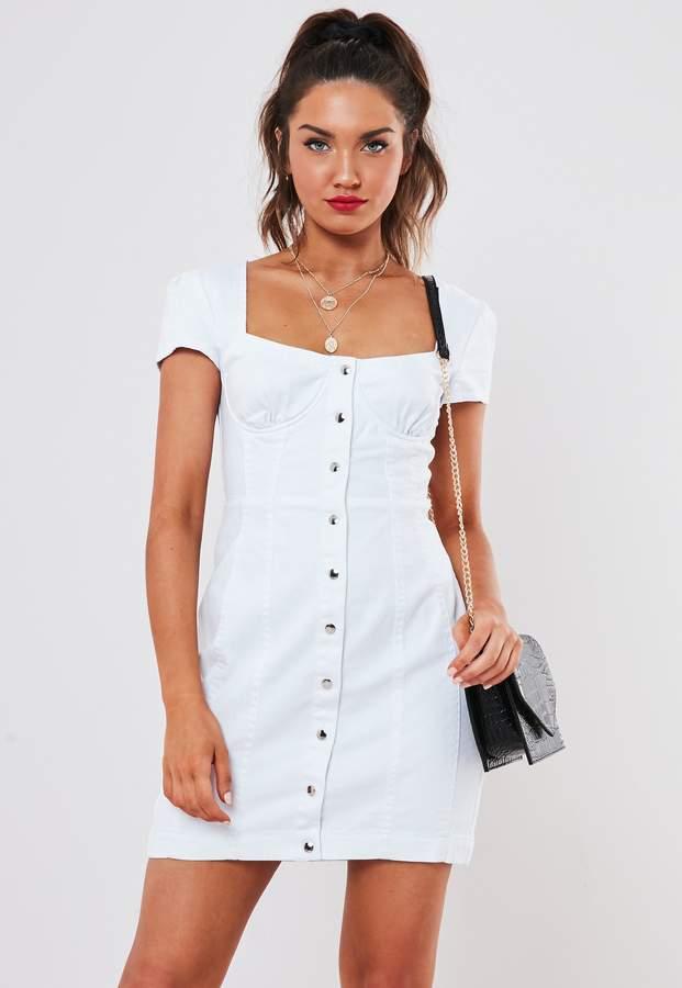 Missguided White Milkmaid Denim Mini Dress