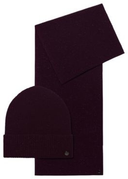 HUGO BOSS Wool-blend scarf and hat gift set with shimmer
