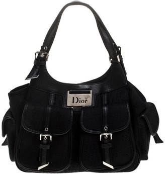 Christian Dior Black Diorissimo Canvas Multi Pocket Shoulder Bag
