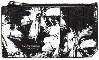 Saint Laurent Credit Card Holder in Black & White | FWRD