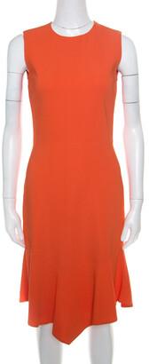 Givenchy Bright Orange Stretch Knit Sleeveless Asymmetric Hem Sheath Dress S