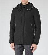 Reiss Reiss Shires - Hooded Coat In Black, Mens