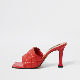 River Island Red woven square toe mule sandal