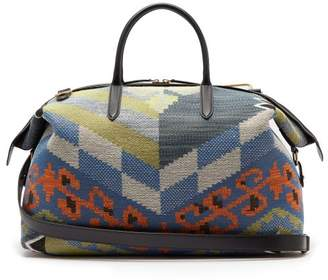 Smythson Kilim Leather-trimmed Cotton-jacquard Holdall - Mens - Multi