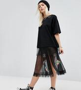 Asos Sheer Tulle Midi Skirt with Badging