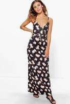 Boohoo Petite Adora Wrap Over Maxi Dress