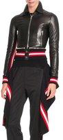 Givenchy Striped-Hem Leather Jacket, Black/Multi