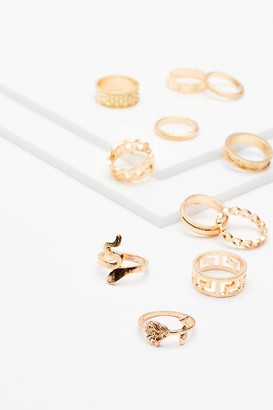 Nasty Gal Womens Give Us a Hand 10-Pc Ring Set - Gold
