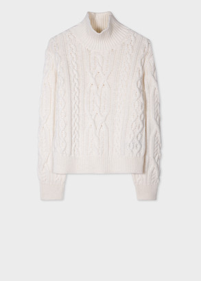 Paul Smith Women's Cream Cable-Knit Funnel Neck Sweater