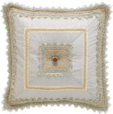 """Sweet Dreams Crystal Palace Mitered Blue Silk Pillow, 18""""Sq."""