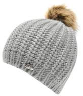 Firetrap Womens Pom Beanie Faux Fur Knitted