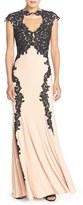 Betsy & Adam Women's Lace Applique Woven Gown